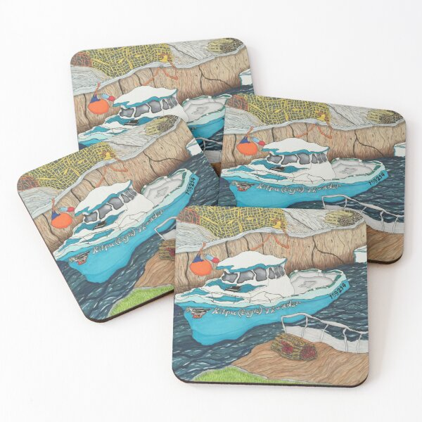 """""""Pugwash Boats""""~Painting by Dawn Langstroth ©2020 Coasters (Set of 4)"""