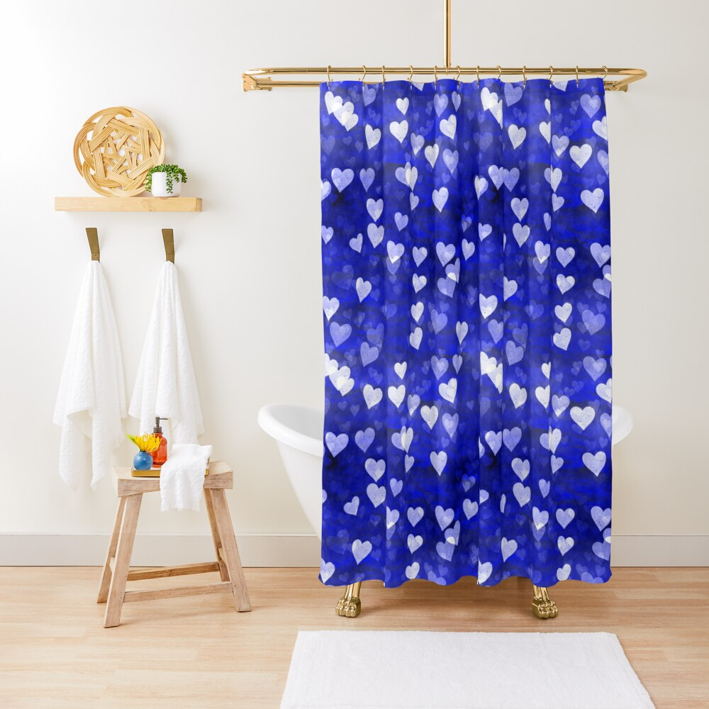 Hearts,blue and white Shower Curtain