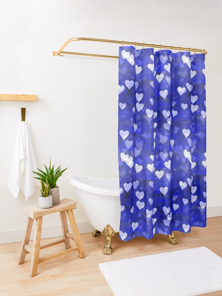 Alternate view of Hearts,blue and white Shower Curtain