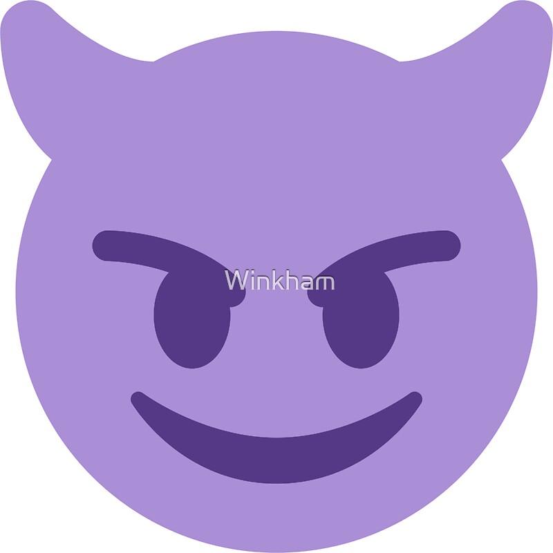 Purple smiling devil with horns emoji by winkham