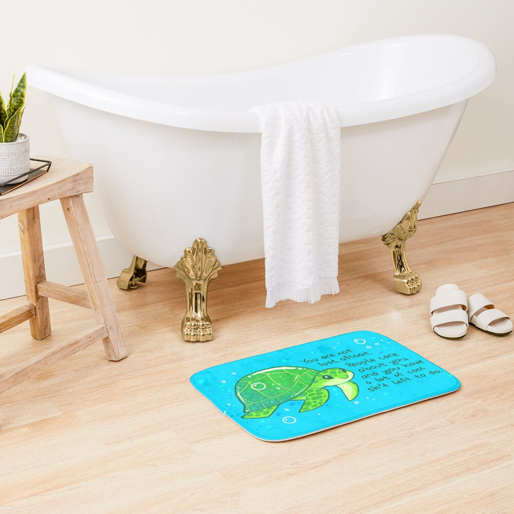 """""""You Are Not Lost, Afloat"""" Encouraging Sea Turtle Bath Mat"""