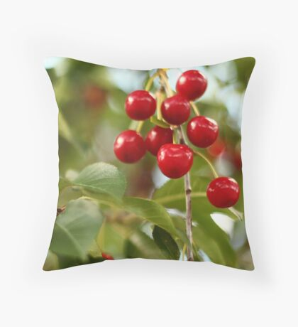 Cherries on the Cherry Tree Throw Pillow