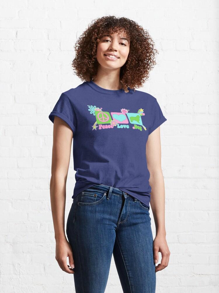 Alternate view of Peace, Love, Australian Shepherd Classic T-Shirt