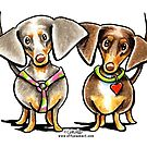 Double Dapple Dachshunds by offleashart