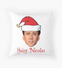 Saint Nicolas Cage Christmas  Throw Pillow