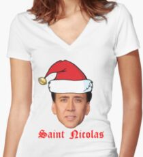 Saint Nicolas Cage Christmas Card Women's Fitted V-Neck T-Shirt