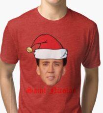 Saint Nicolas Cage Christmas Card Tri-blend T-Shirt