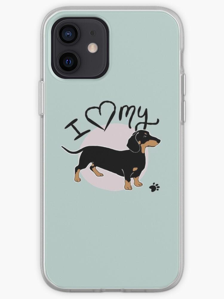 J'aime mon chien noir et bronzage de saucisse de teckel | Coque iPhone