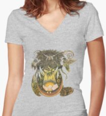 Wheat Fitted V-Neck T-Shirt