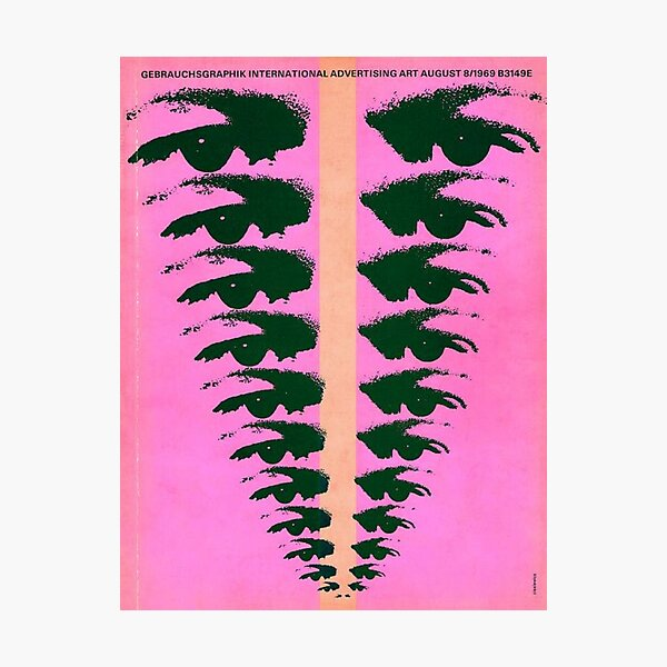 eyes pink vintage poster Photographic Print