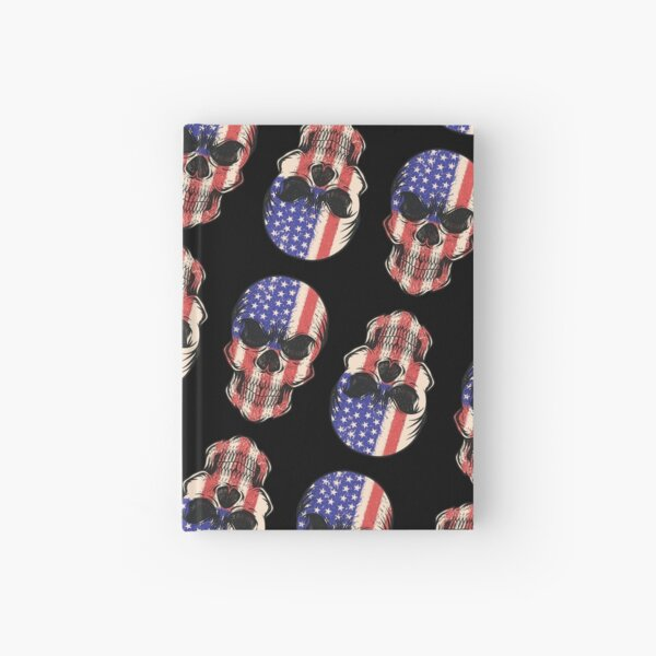 Red, White and Blue Skulls American Flag, Stars and Stripes Design, Artwork, Vector, Graphic Hardcover Journal