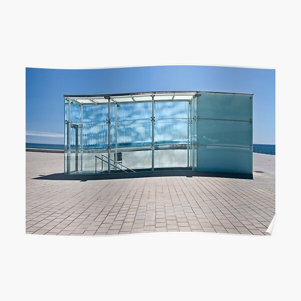 Glass boxes, stairwells at the beach Barcelona Poster