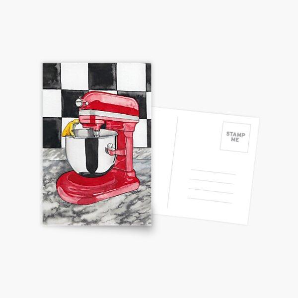 Batter Up -- Surreal Kitchen Mixer Watercolor Postcard