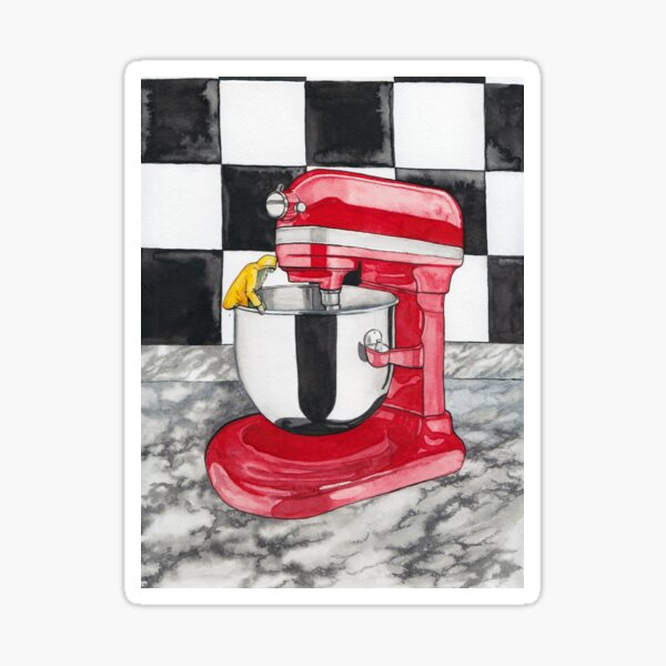 Batter Up -- Surreal Kitchen Mixer Watercolor Sticker