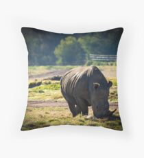 Rhino at Werribee Open Range Zoo Throw Pillow