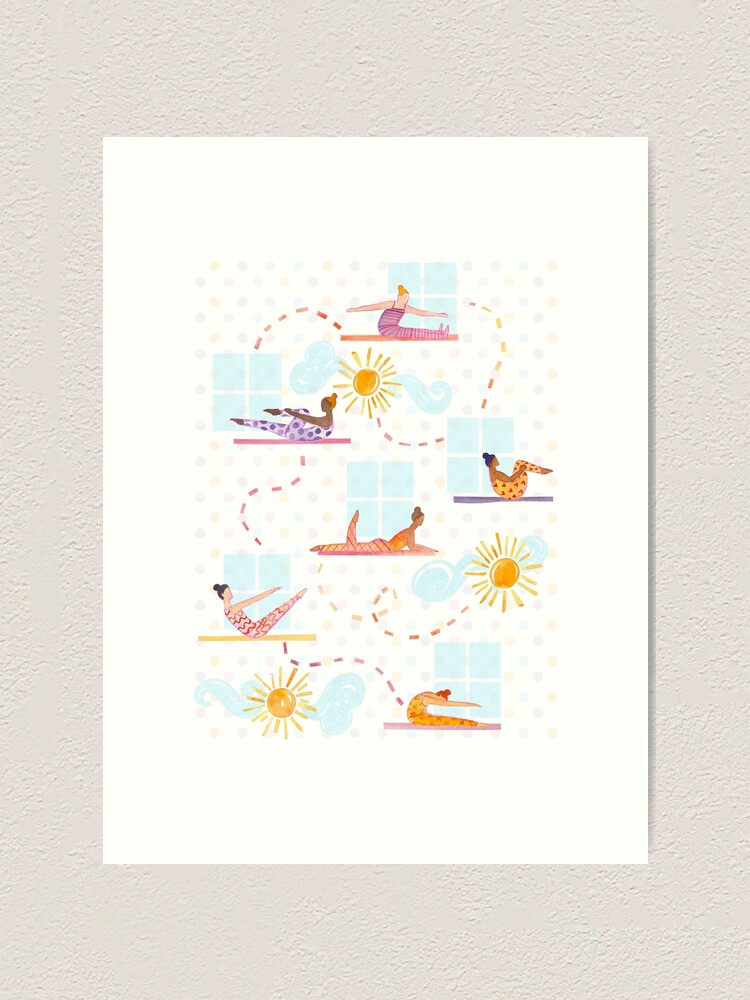Alternate view of Morning Pilates - Sunshine Pilates Watercolor Artwork Art Print