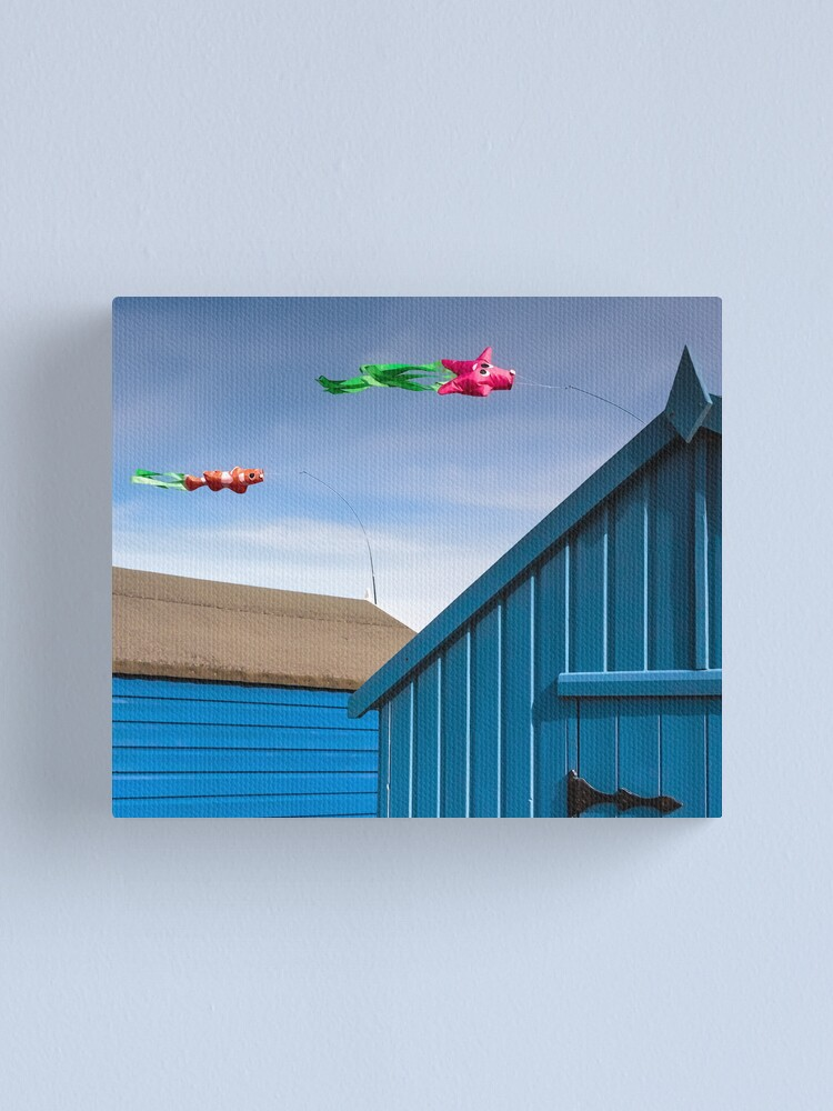 Alternate view of Windsocks and Beach huts Canvas Print