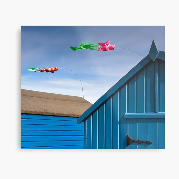Windsocks and Beach huts Metal Print