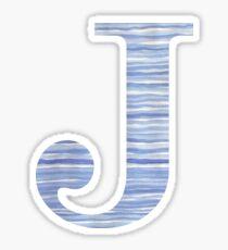 Letter J Blue Watercolor Stripes Monogram Initial Sticker