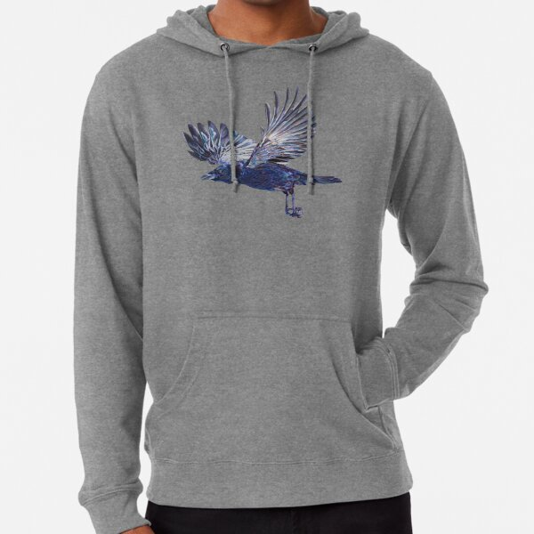 Crow in Flight - coloured pencil drawing Lightweight Hoodie