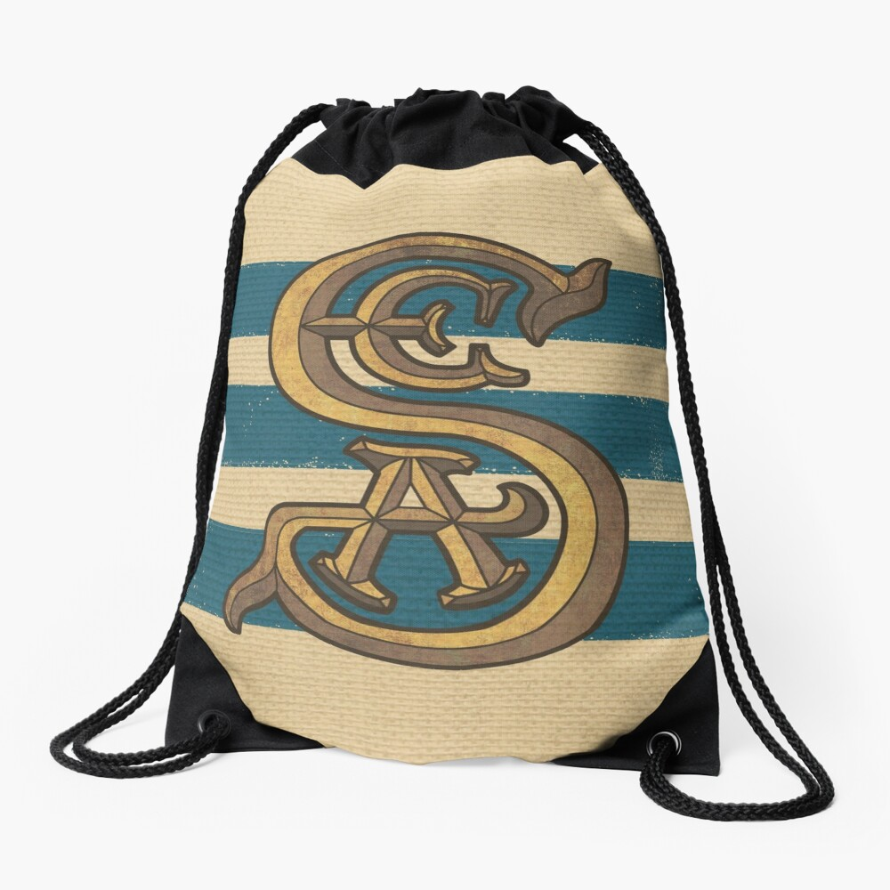 Society of Explorers and Adventurers Blue Stripes Drawstring Bag