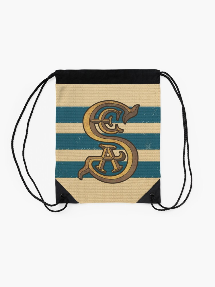 Alternate view of Society of Explorers and Adventurers Blue Stripes Drawstring Bag