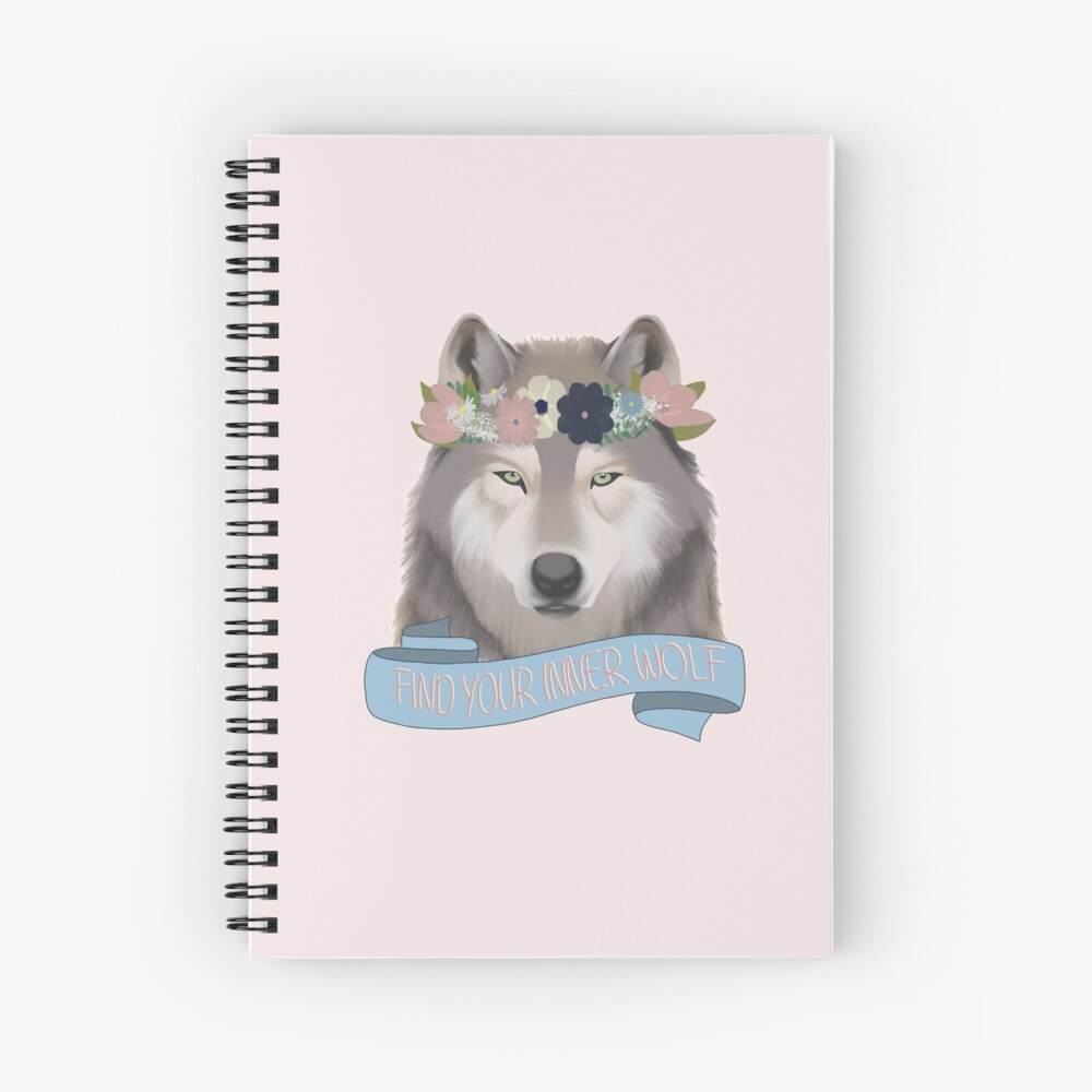 Floral Wolf // Find Your Inner Wolf Spiral Notebook