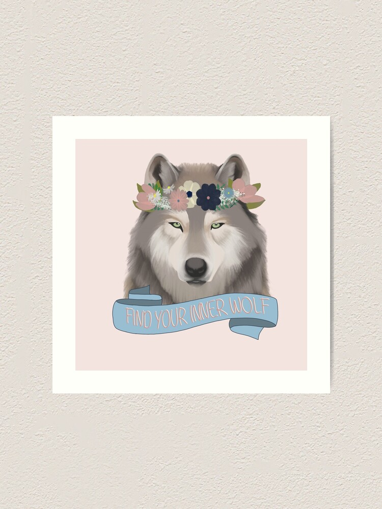 Alternate view of Floral Wolf // Find Your Inner Wolf Art Print