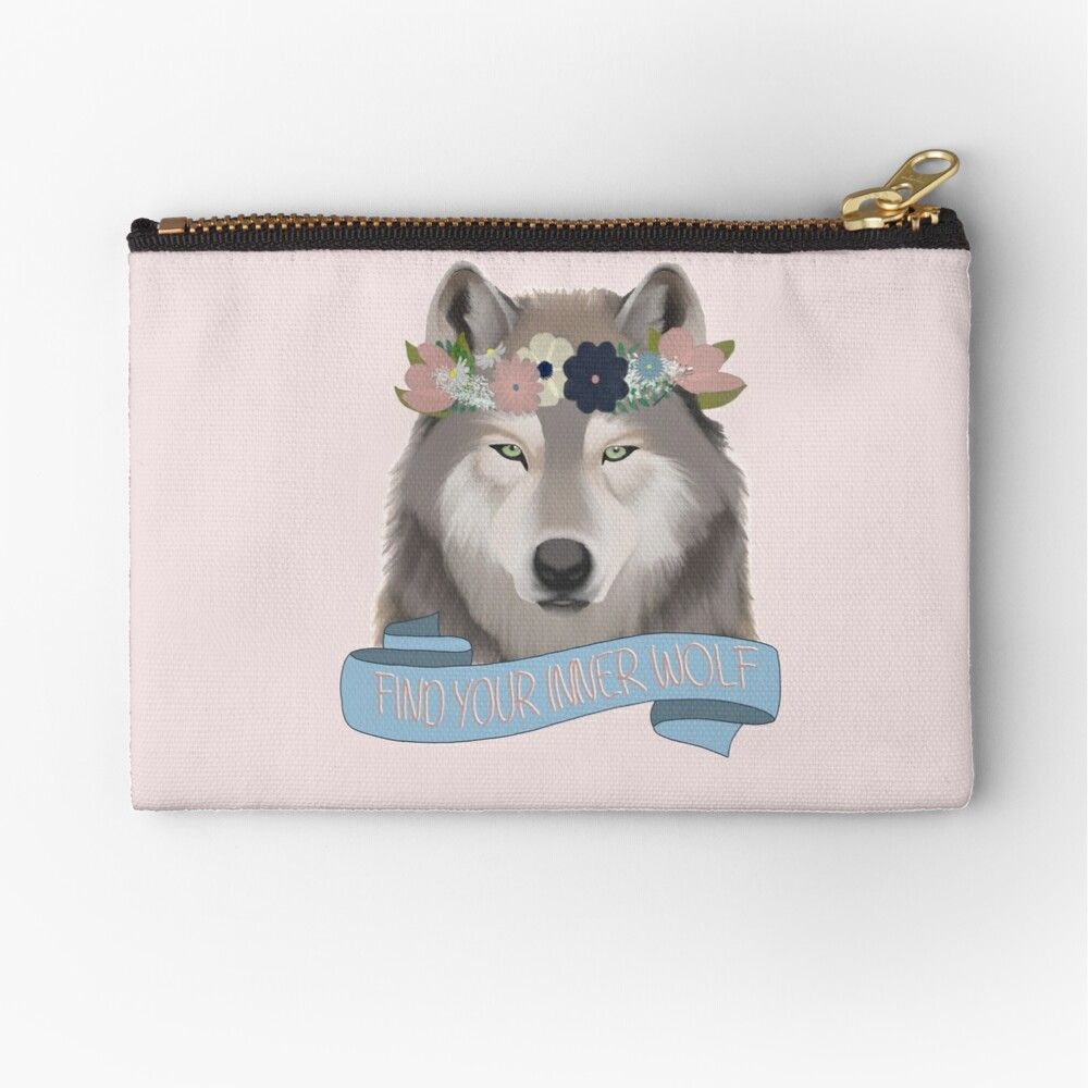 Floral Wolf // Find Your Inner Wolf Zipper Pouch