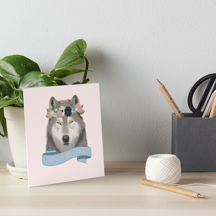 Floral Wolf // Find Your Inner Wolf Art Board Print