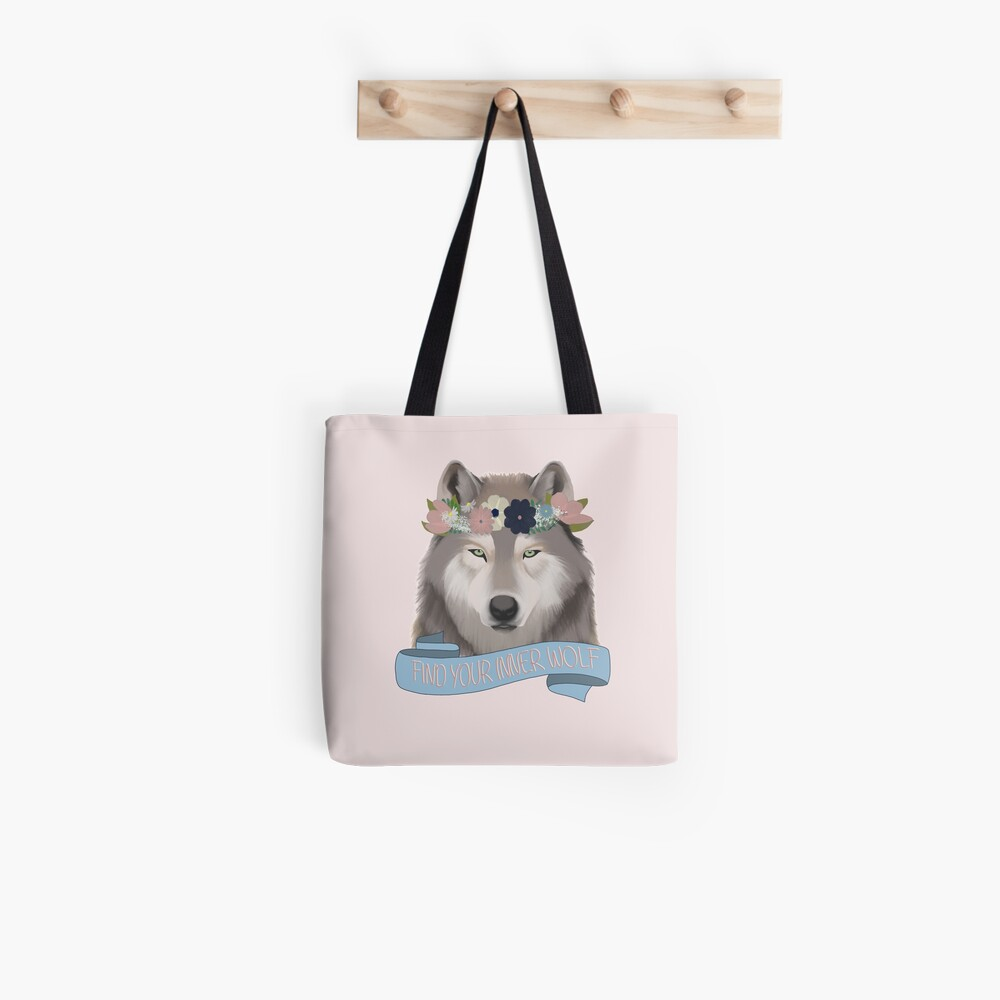 Floral Wolf // Find Your Inner Wolf Tote Bag