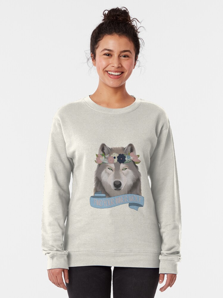 Alternate view of Floral Wolf // Find Your Inner Wolf Pullover Sweatshirt