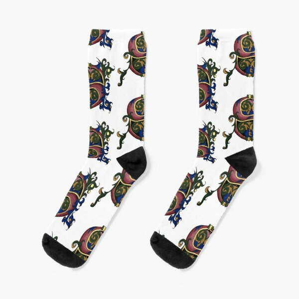 Illuminated Letter S Socks