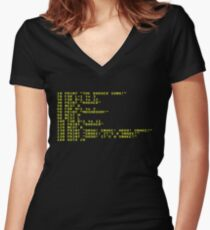Badger Ad Infinitum - Amber on Black Terminal Women's Fitted V-Neck T-Shirt
