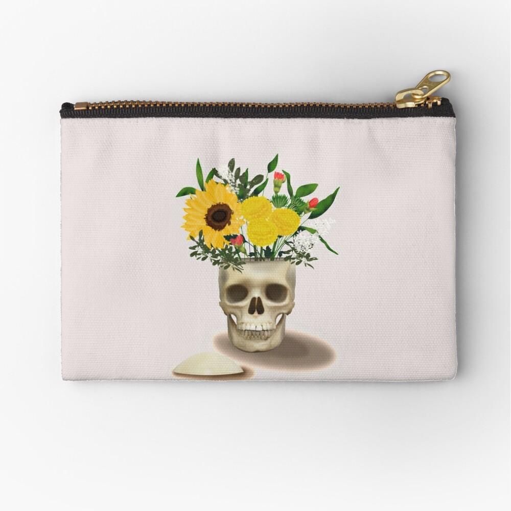 Skull Vase Zipper Pouch