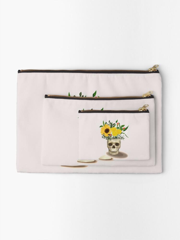 Alternate view of Skull Vase Zipper Pouch
