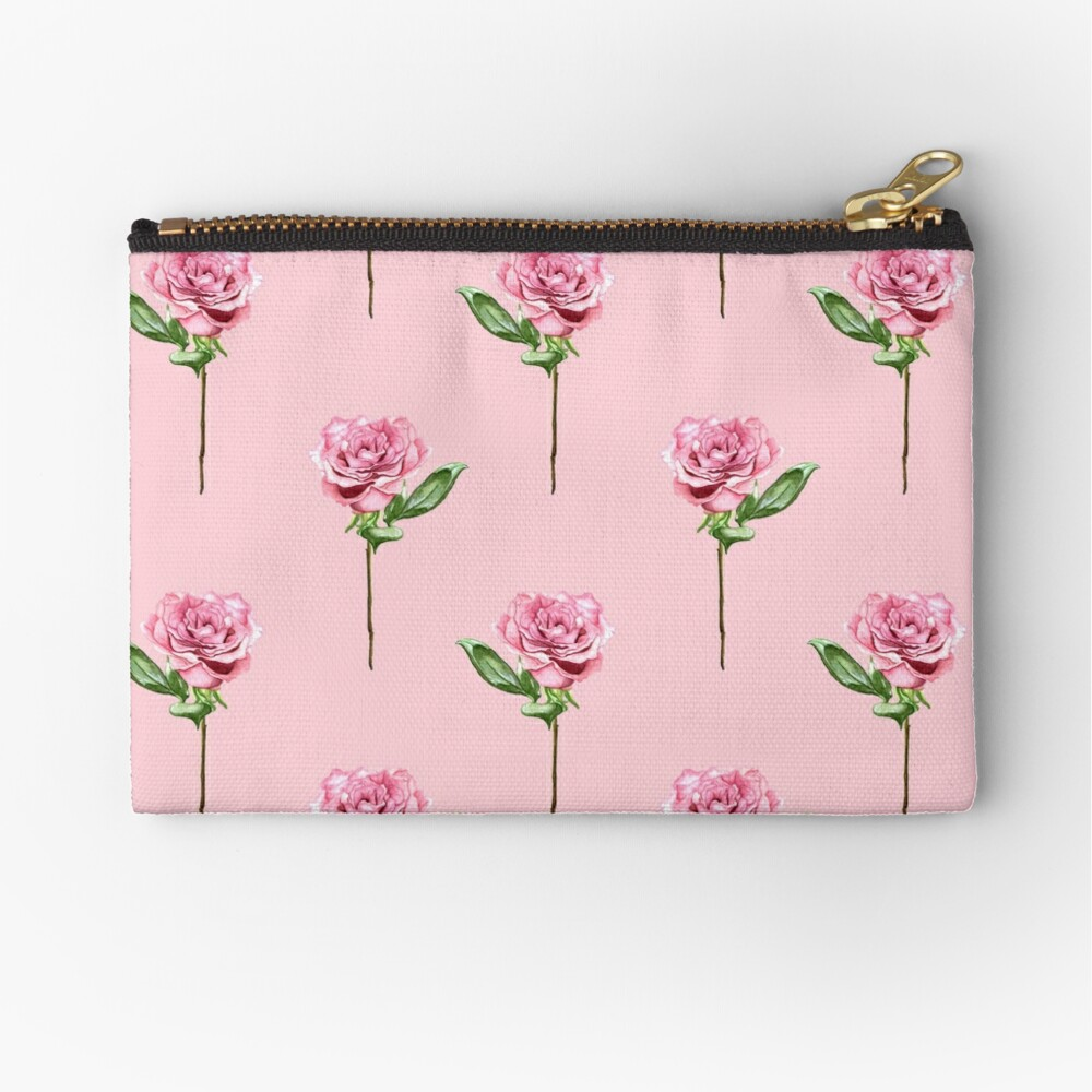 A Rose From My Beloved - Pink Zipper Pouch
