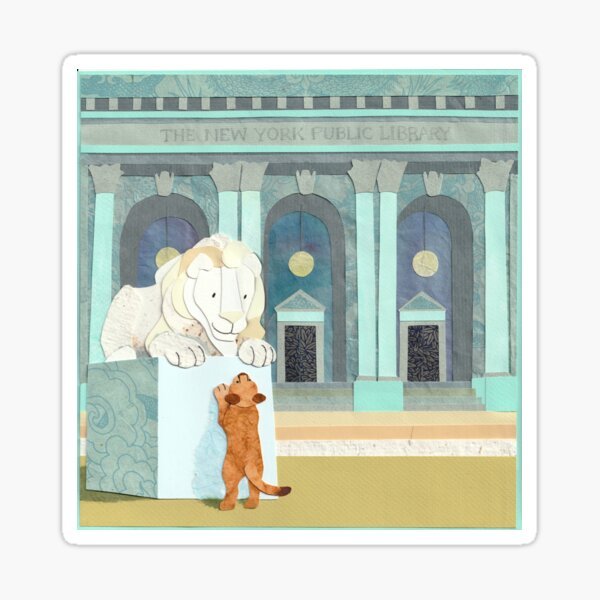 Lion Cub Visits New York Public Library Sticker