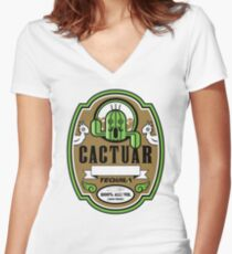 CACTUAR TEQUILA Women's Fitted V-Neck T-Shirt