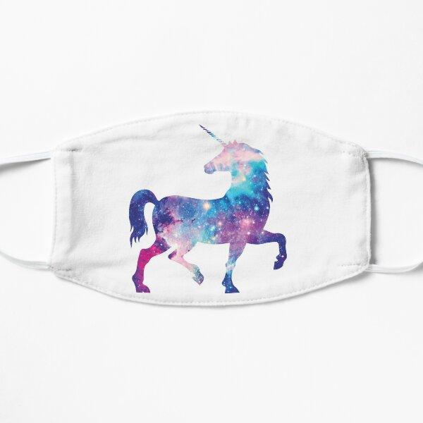 Cosmic watercolor unicorn Flat Mask