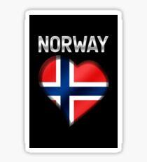Norway - Norwegian Flag Heart & Text - Metallic Sticker