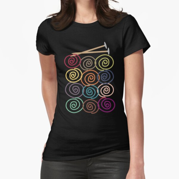 Colorful yarn balls with knitting needles Fitted T-Shirt