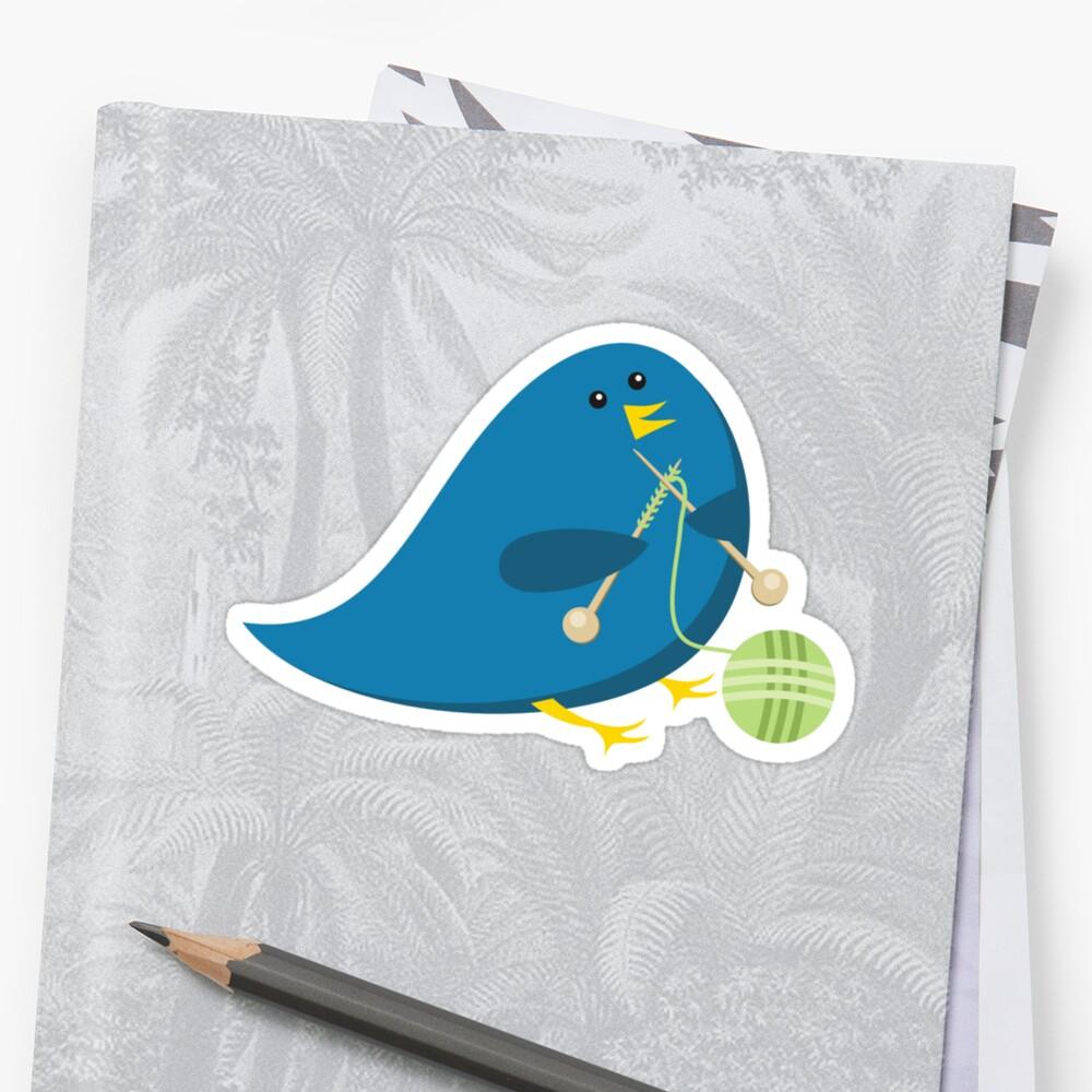Cute knitting needles ball of yarn blue bird by BigMRanch
