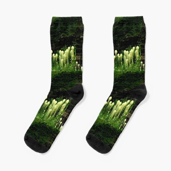 Beargrass and Waterfall in Glacier National Park, Montana  Socks
