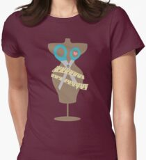 dress dummy sewing mannequin scissors brown Womens Fitted T-Shirt