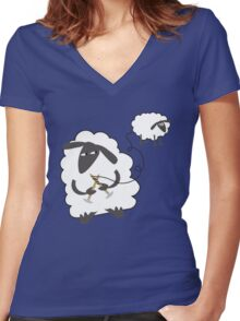 Funny sheep knitting stealing wool yarn Women's Fitted V-Neck T-Shirt
