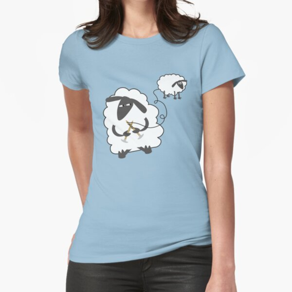 Funny sheep knitting stealing wool yarn Fitted T-Shirt