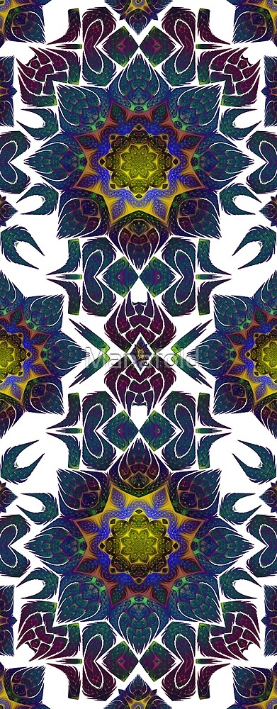 Psychedelic Fractal Manipulation Pattern on White by Manafold