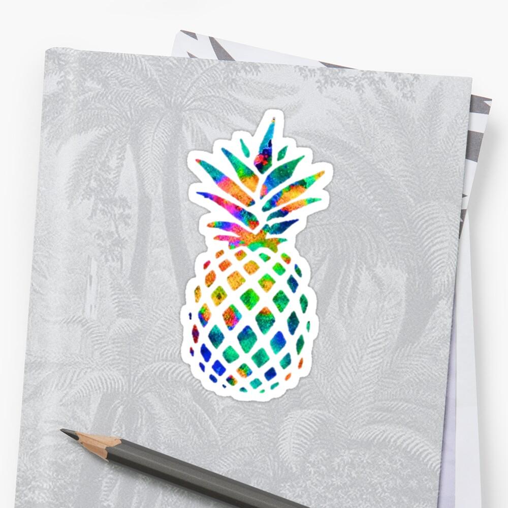 Regenbogen Ananas Sticker