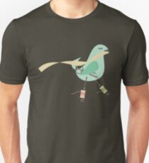 Seamstress bird sewing measuring tape blue T-Shirt